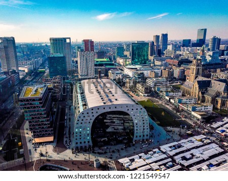 Aerial view of the Market Hall in Rotterdam. #1221549547