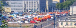 Aerial View of the Market Square (Kauppatori), Helsinki, Finland. Tilt-shift effect applied