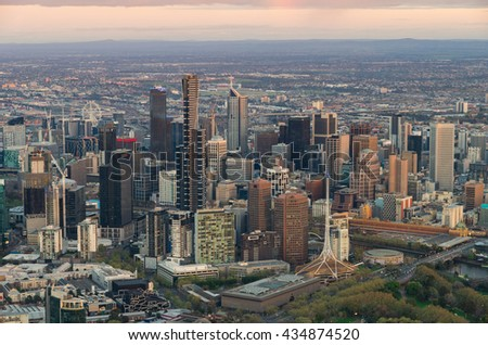 Aerial view of the Melbourne, Australia central business district at sunrise.