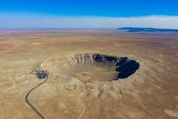 Aerial view of the Meteor Crater Natural Landmark at Arizona