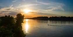 Aerial view of the Missouri River at sunset