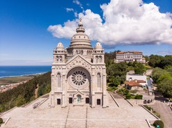 Aerial view of the Monument Temple of Santa Luzia, dedicated to the Sacred Heart of Jesus in Viana do Castelo, Portugal. Its imposing rose windows are the largest in the Iberian Peninsula.