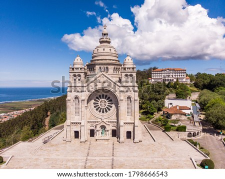 Aerial view of the Monument Temple of Santa Luzia, dedicated to the Sacred Heart of Jesus in Viana do Castelo, Portugal. Its imposing rose windows are the largest in the Iberian Peninsula. Foto d'archivio ©