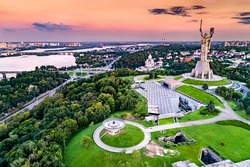 Aerial view of the Motherland Monument and the Second World War Museum in Kiev, the capital of Ukraine