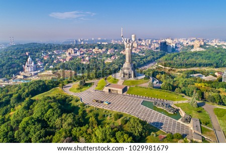 Aerial view of the Motherland Monument and the Second World War Museum in Kiev, the capital of Ukraine #1029981679