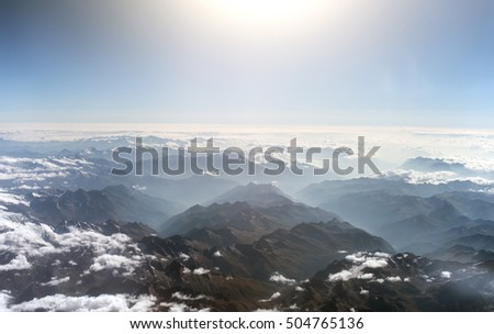 Aerial view of the mountains in the clouds. #504765136