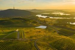 Aerial view of the national arboretum in Canberra, the Capital City of Australia in the early morning showing the Margaret Whitlam Pavilion