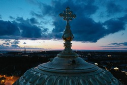 Aerial view of the Naval Cathedral of Nicholas the Wonderworker in Kronstadt at night. Kotlin Island. Detail of the southern facade. Marine anchor. Summer