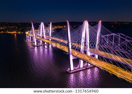 Aerial view of the New Tappan Zee Bridge, spanning Hudson River between Nyack and Tarrytown Stockfoto ©