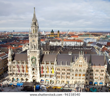 Aerial view of the New Town Hall of Munich, Bavaria, Germany