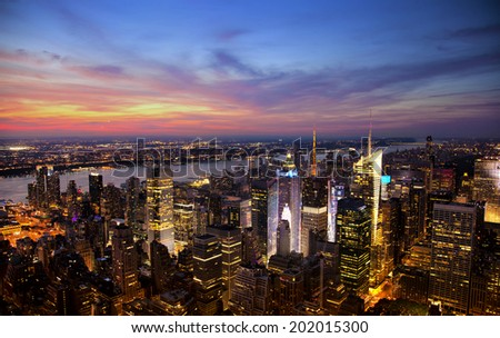 Aerial view of the New York City skyline at sunset