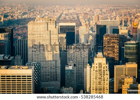 Aerial view of the New York City skyline near Midtown at sunset #538285468