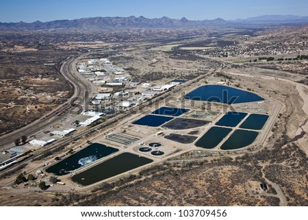 Aerial view of the Nogales, Arizona Waste Water Treatment Facility