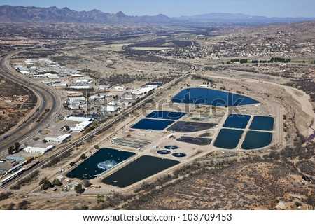 Aerial view of the Nogales Waste Water Treatment Facility in Rio Rico, Arizona