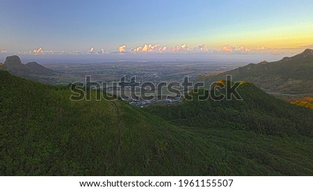 Aerial view of the north of Mauritius island during a sunset from 'Deux Mamelles' mountain at Beau Bois, Mauritius Photo stock ©