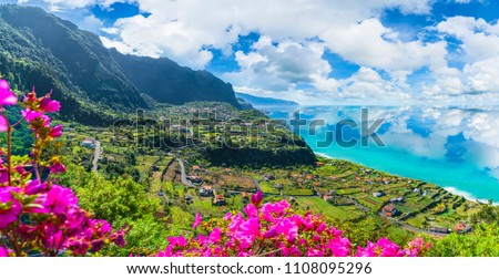 Aerial view of the northern coast of Madeira islands, from the Solar de Boaventura miradouro, Portugal