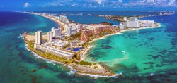Aerial view of the northern peninsula of the Hotel Zone (Zona Hotelera) in Cancún, Mexico