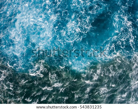 Aerial view of the Ocean on the north shore of Oahu Hawaii #543831235