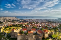 Aerial view of the old Byzantine Castle in the city of Thessaloniki , Greece. Yedi Koule was the highest security prison until 1989