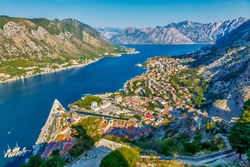 Aerial view of the old historic town of Kotor and the Bay of Kotor, Montenegro.