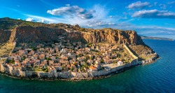 Aerial view of the old medieval castle town of Monemvasia in Lakonia of Peloponnese, Greece. Monemvasia is often called