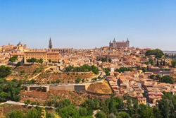 Aerial view of the old medieval town (Unesco World heritage Sites) in the town Toledo, Spain