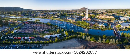 Aerial View of the Old Mill District in Bend, Oregon