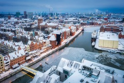 Aerial view of the old town in Gdansk city at winter dawn, Poland