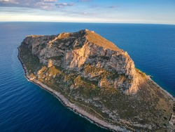 Aerial view of the old town of Monemvasia in Lakonia of Peloponnese, Greece. Monemvasia is often called