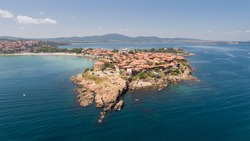 Aerial view of the old town of Sozopol. Sozopol is an ancient seaside town near Burgas, Bulgaria