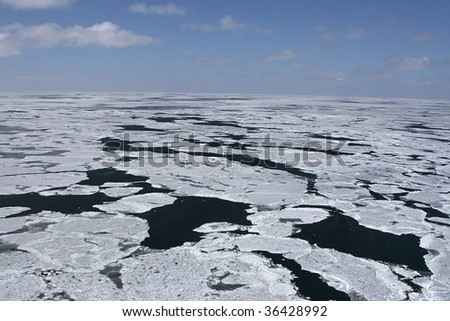Aerial view of the packice in the Canadian Arctic