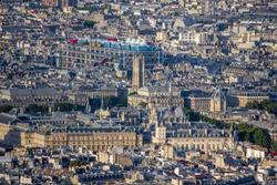 Aerial view of the Paris with Centre Pompidou