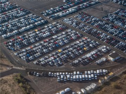aerial view of the parking of the car Renault factory at Flins in the department of Yvelines in France