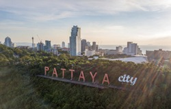 Aerial View of the Pattaya City Sign with the Pattaya Skyline at Dusk