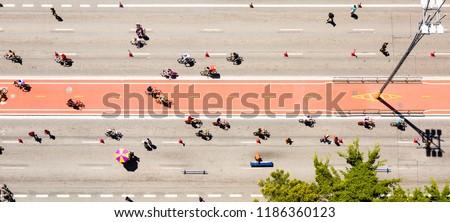 Aerial view of the Paulista Avenue bike lane on a Sunday in Sao Paulo, Brazil, #1186360123