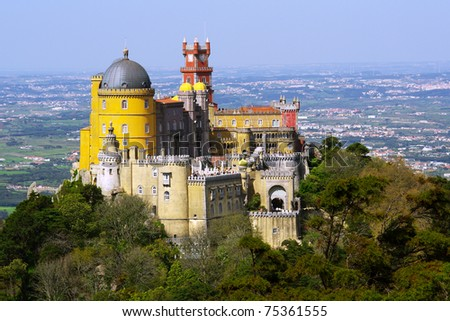 Aerial view of the Pena Palace in Sintra National Park, Portugal - stock photo