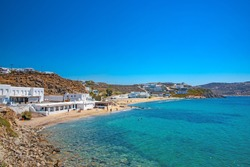 Aerial view of the pictorial beach of Megali Ammos in Mykonos island in Greece