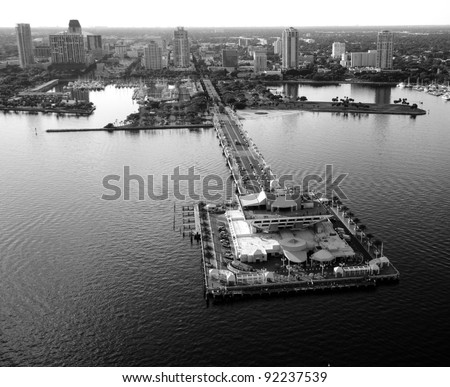 Aerial view of The Pier at St. Petersburg, Florida