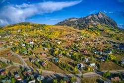 Aerial View of the Popular Ski Town of Crested Butte, Colorado in Peak Autumn Colors