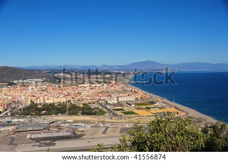 Aerial View of the Port of Gibraltar and Spain - stock photo