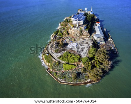Aerial view of the prison island of Alcatraz in San Francisco Bay,
