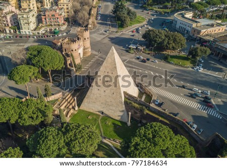 Shutterstock Aerial view of the Pyramid of Cestius in Rome. On Italian, Piramide di Caio Cestio or Piramide Cestia