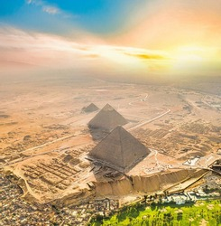 Aerial view of the pyramids of Giza. historical pyramids of egypt.