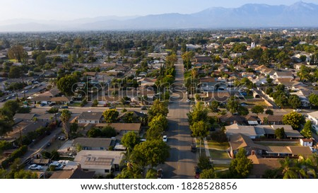 Aerial view of the residential district of Chino, California, USA. Foto stock ©