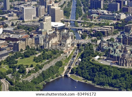 aerial view of the Rideau Canal Waterway locks in Ottawa near the Parliament buildings; Ottawa, Ontario Canada