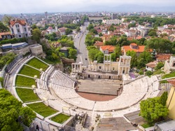 Aerial view of the roman amphitheater in Plovdiv, Bulgaria