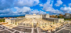 aerial view of the Royal Palace in Madrid, Spain.