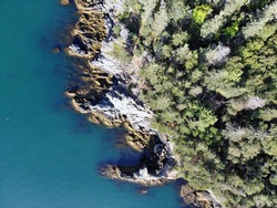 Aerial view of the rugged and wild coast of Whale Cove at the north end of Grand Manan Island in New Brunswick