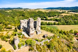 Aerial view of the ruins of Domeyrat Castle in Auvergne, France