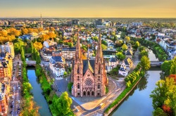 Aerial view of the Saint Paul Church in Strasbourg - Alsace, France